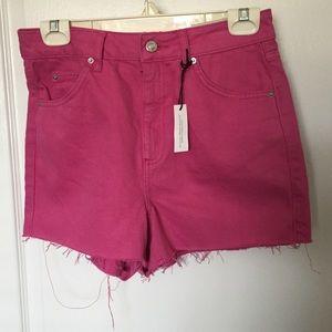TopShop Moto Mom High Waisted Frayed Shorts US 6